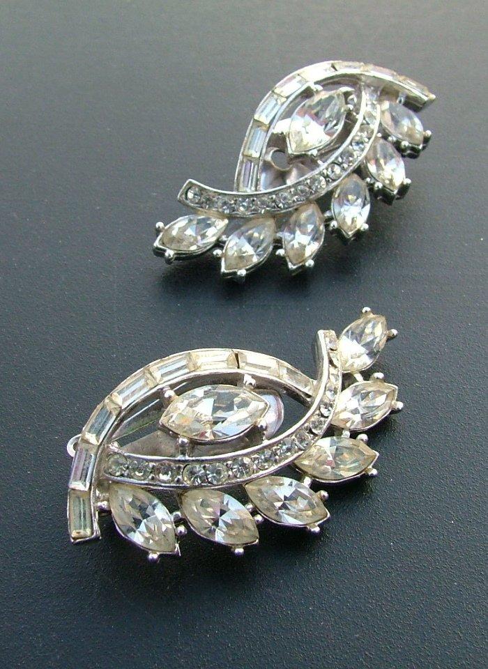 Asymmetrical Rhinestone Earrings c.1949