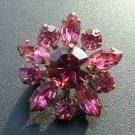Pink Rhinestone Pin, Petite Star Flower c.1959