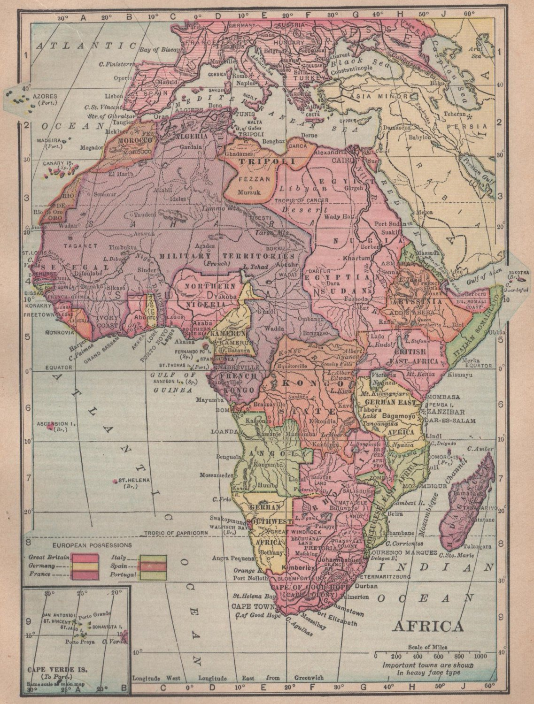 Map of Africa, C.S. Hammond & Co. Atlas, Full Color c.1910