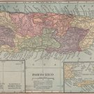 Map of Porto Rico/Puerto Rico, Full Color, C.S. Hammond & Co. Atlas c.1910