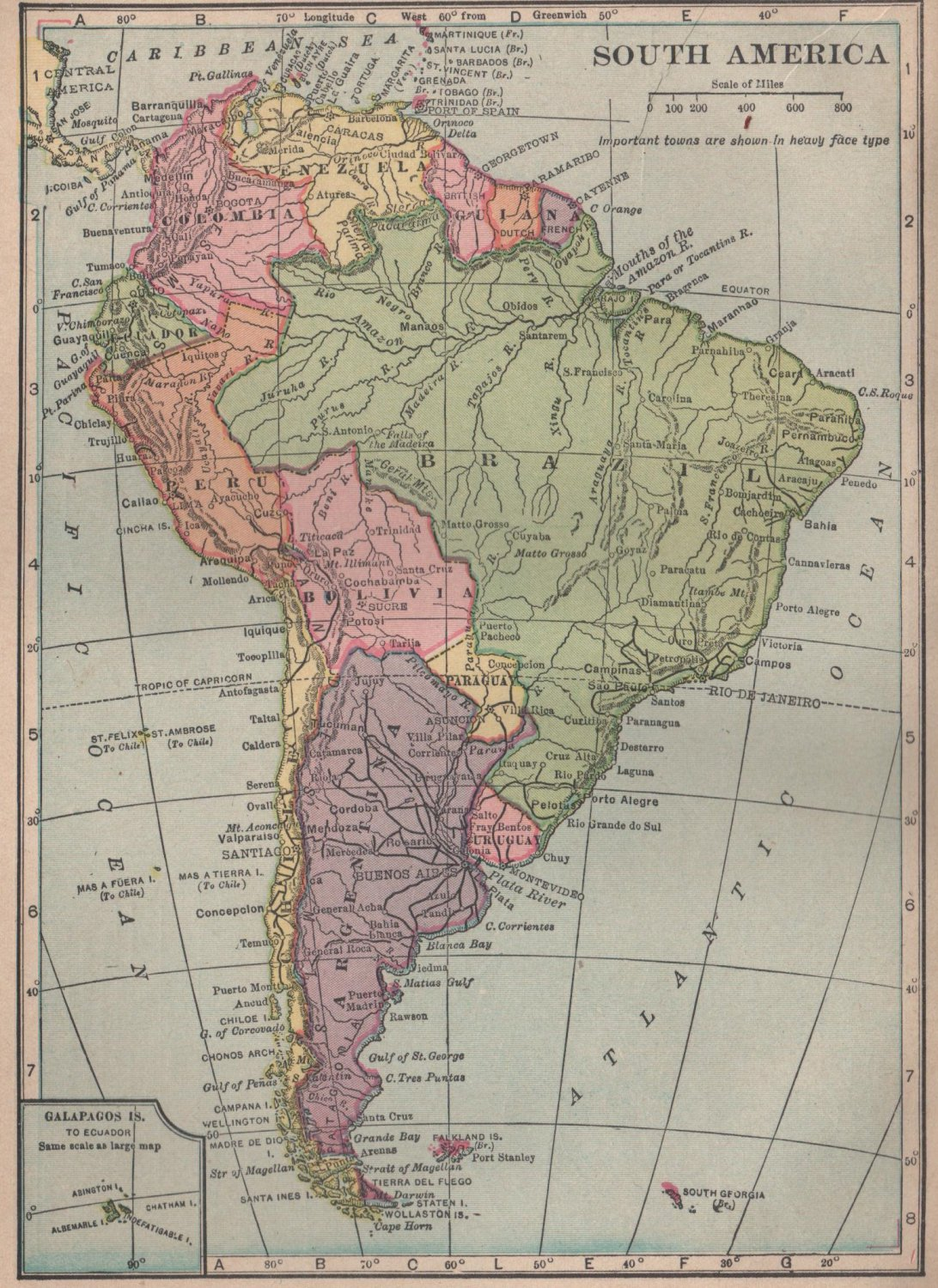 Map of south america full color c s hammond co atlas for What color is south america