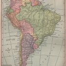 Map of South America, Full Color, C.S. Hammond & Co. Atlas c.1910