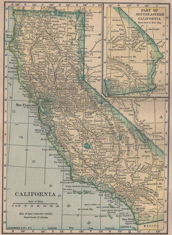 Map of California, C.S. Hammond & Co. Atlas, Full Color c.1910