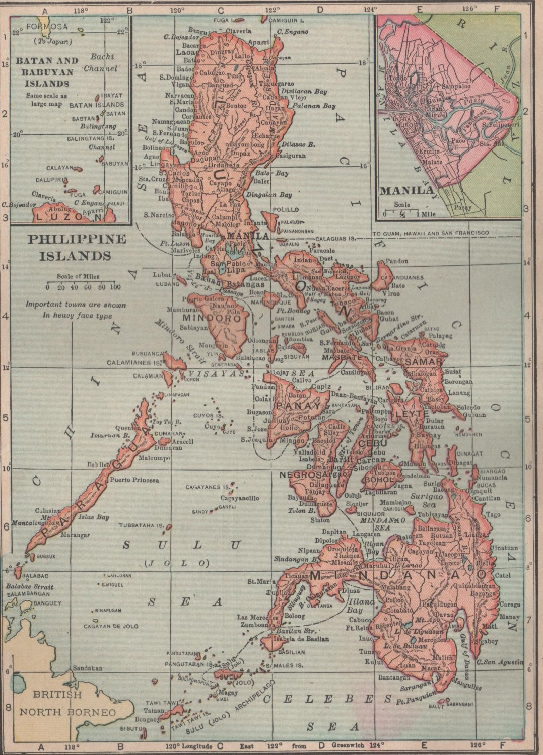 Map of The Philippine Islands, C.S. Hammond & Co. Atlas, Full Color c.1910
