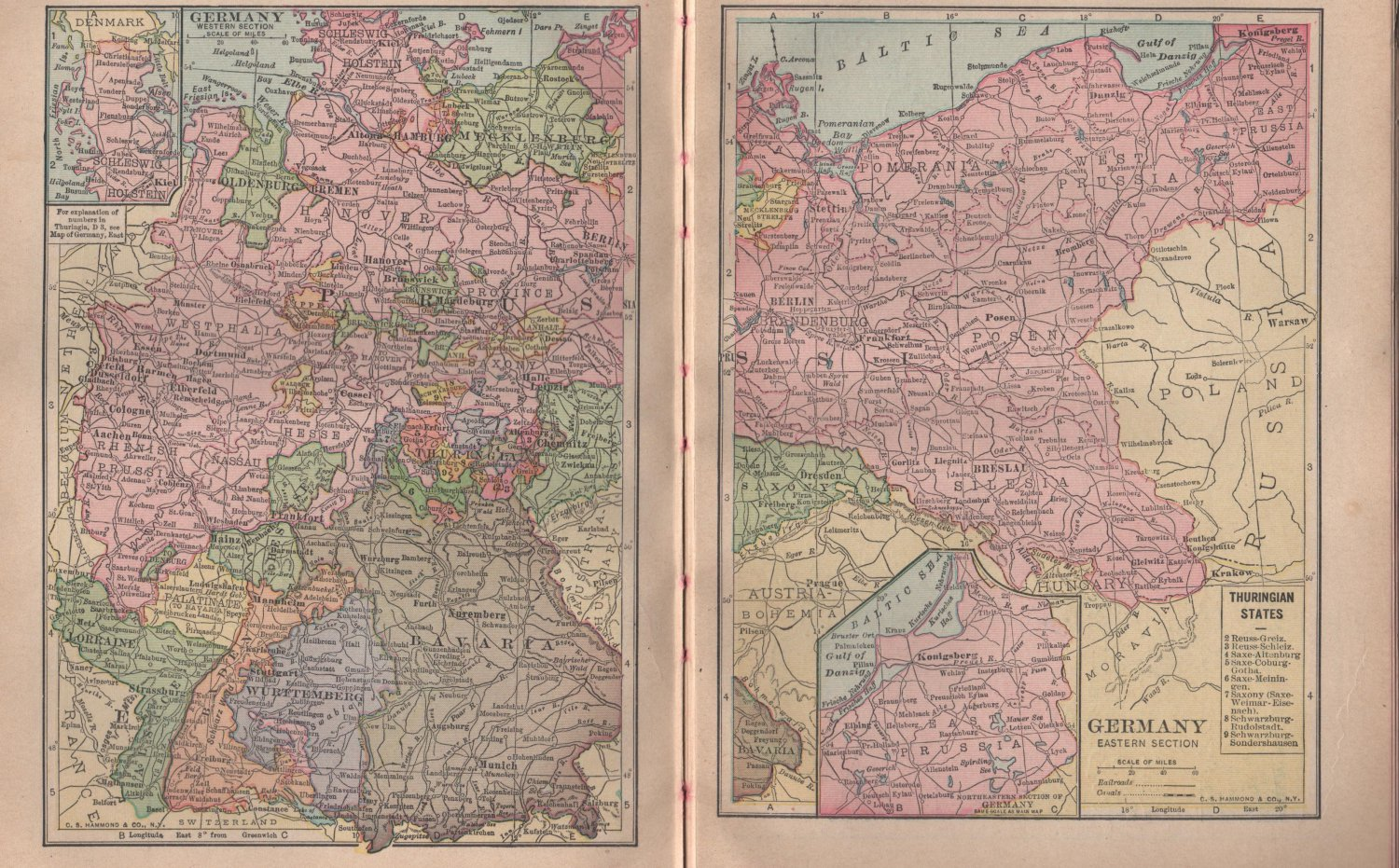 Maps of East and West Germany, C.S. Hammond & Co. Atlas, Two Full Color Pages c.1910