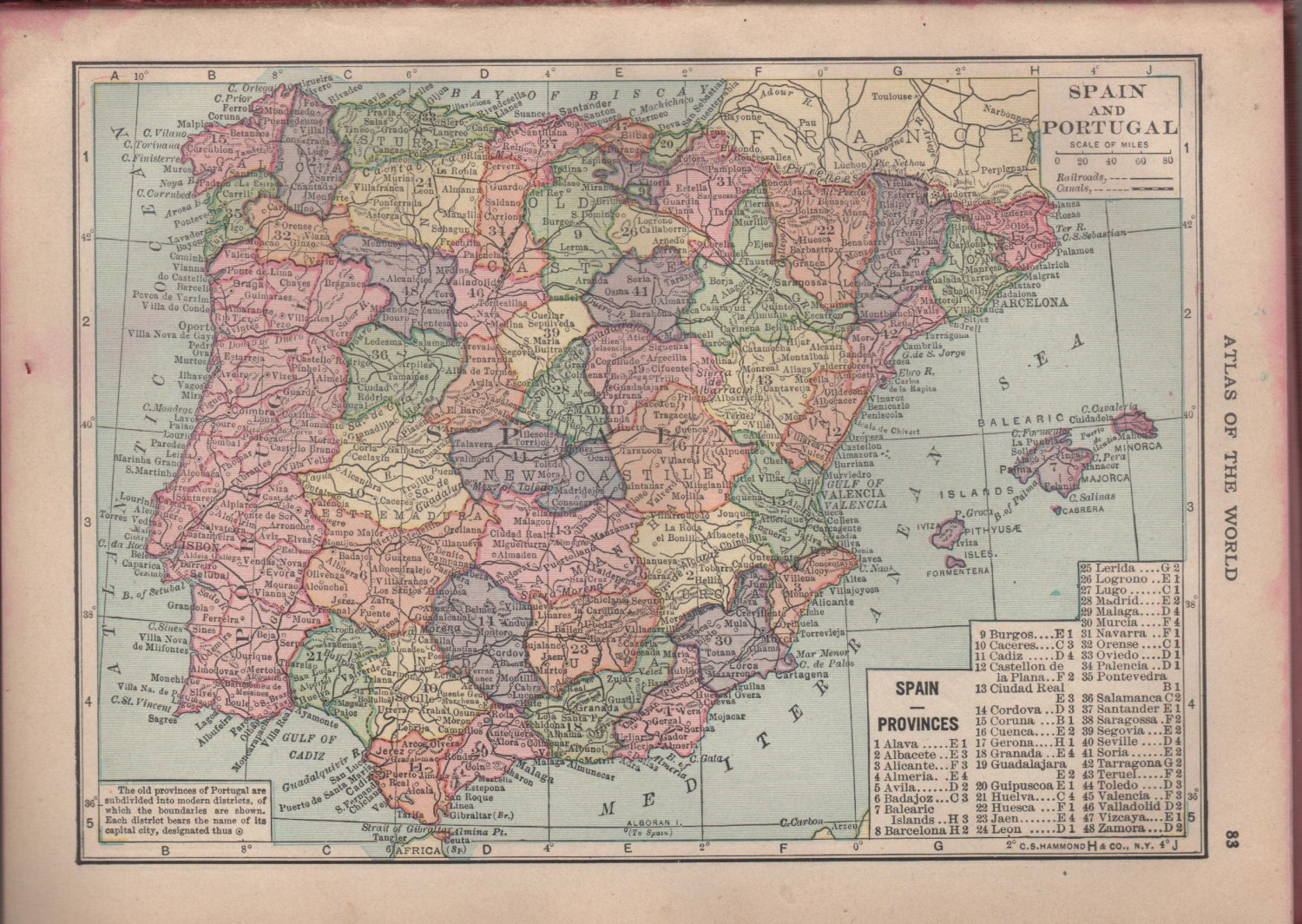 Map of Spain and Portugal, Full Color, C.S. Hammond & Co. Atlas c.1910