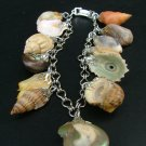 Palladium Charm Bracelet, Shells, Stones & Amber, Germany c.1940