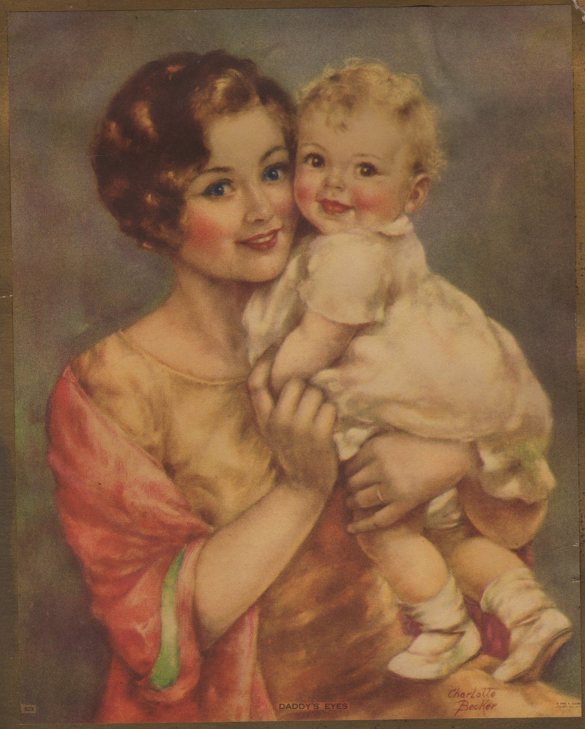 Daddy's Eyes, Charlotte Becker Color Print of Mother and Child c.1915