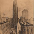 Elizabeth O'Neill Verner Print, New York City, RCA Building Promenade and Plaza c.1940
