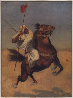 Arabian Horse with Rider, John Durst Color Print c.1904