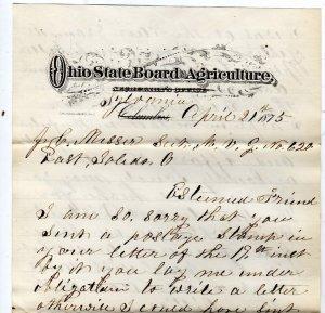 Letter Regarding Ohio State Fairs, Board of Agriculture, R.C. Thompson c.1875