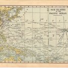 Map of Islands of The Pacific Ocean, C.S. Hammond Atlas, Full Color c.1910