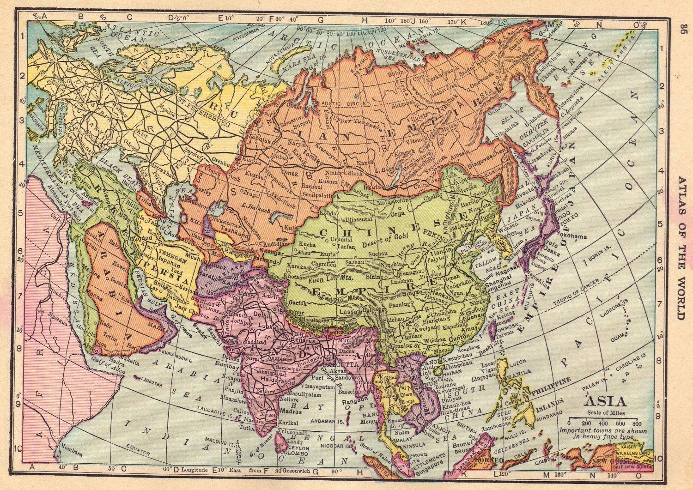 map of asia full color cs hammond atlas c1910