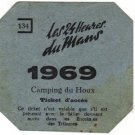 du Mans Race 24 Hour Camping Pass Ticket, Printed in France c.1969