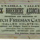Stock Breeders' Association Card, Dutch Friesian Cattle c.1879