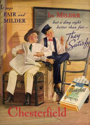 Chesterfield Cigarettes Ad, Train Station & Smoking Porter, Full Color c.1936