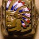 Native Headdress Ring, Brass Copper, Enameling c.1959