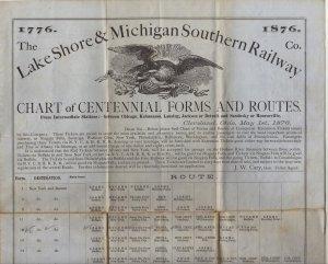 Lake Shore & Michigan Southern Railroad Timetable c.1876