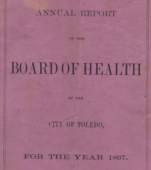 First Board of Health Report for Toledo Ohio, Pink Cover c.1867