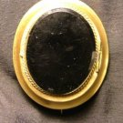 Yellow Gold & Onyx Brooch, Civil War Mourning Jewelry c.1863