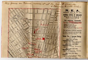 Official N.E.A. Map & Railroad Guide, Buffalo New York c.1896