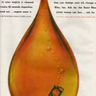 AC Oil Filter Ad, Huge Drop of Oil with Can, Color c.1962