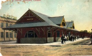 Brantford Canada Postcard, View of Train Station, Full Color c.1908