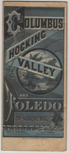 Columbus, Hocking Valley & Toledo Railway Timetable Map c.1890