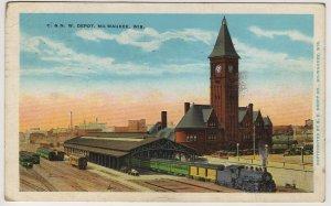 Milwaukee Wisconsin Postcard, Chicago & North Western Railway Depot c.1930