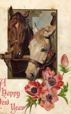 New Year Greetings Postcard, Haltered Horses and Flowers, Full Color & Embossed c.1904