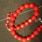 Fire Engine Red Glass Beads, Original Rhinestone Clasp c.1940