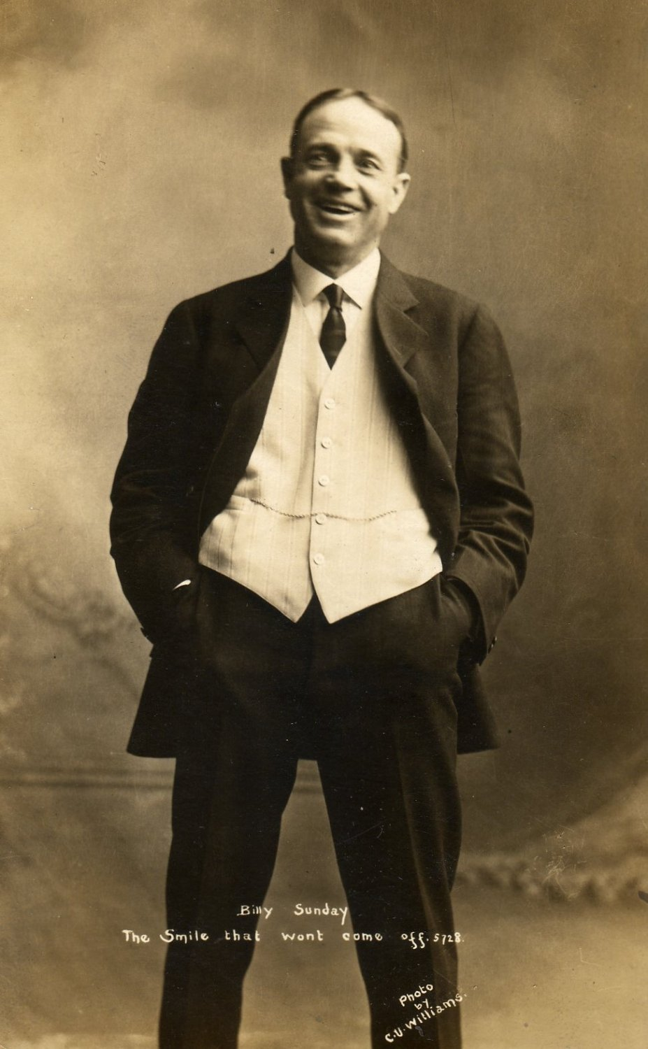 Portrait Postcard of Billy Sunday, Smiling & Well Dressed c.1907