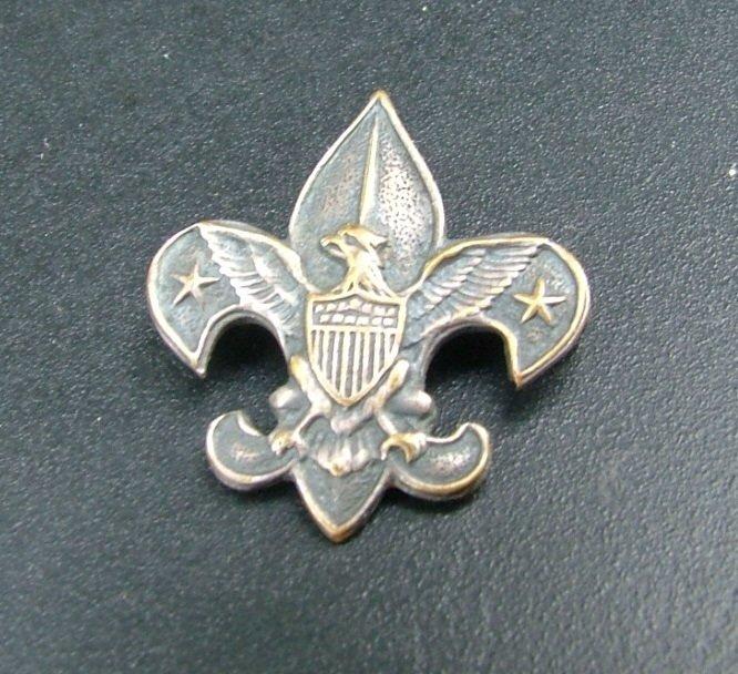 Boy Scouts of America Pin, Eagle with Shield, Stars & Fleur de Lis c.1911