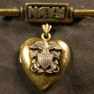 Navy Sweetheart Locket Pin, Gold & Silver, Merchant Marine Insignias c.1941