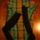 Irish Wool Poncho, Plaid with Black Fringe c.1959
