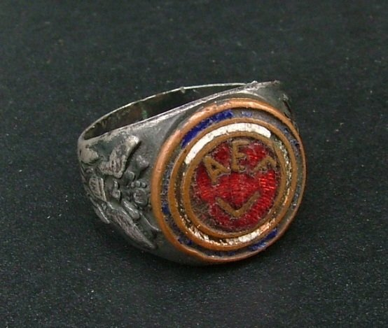 WWI American Expeditionary Forces Ring, Sterling, Copper, Enameling c.1918