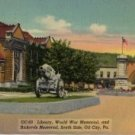 Oil City Pennsylvania Postcard, View of WWI Memorial & Rickard's Memorial, South Side c.1938