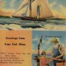 Cape Cod Massachusetts Postcard, Boats, Fishing Poles and Rev. Huse Poem c.1953