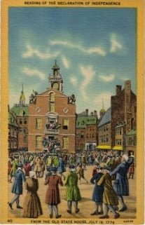 Boston Massachusetts Postcard, Old State House, Declaration of Independence c.1946
