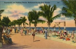 Hollywood-by-the-Sea Florida Postcard, Boardwalk and Beach, Full Color c.1950
