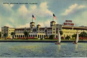 Sanford Florida Postcard, Hotel Mayfair Featuring St. Johns River Fruit c.1944