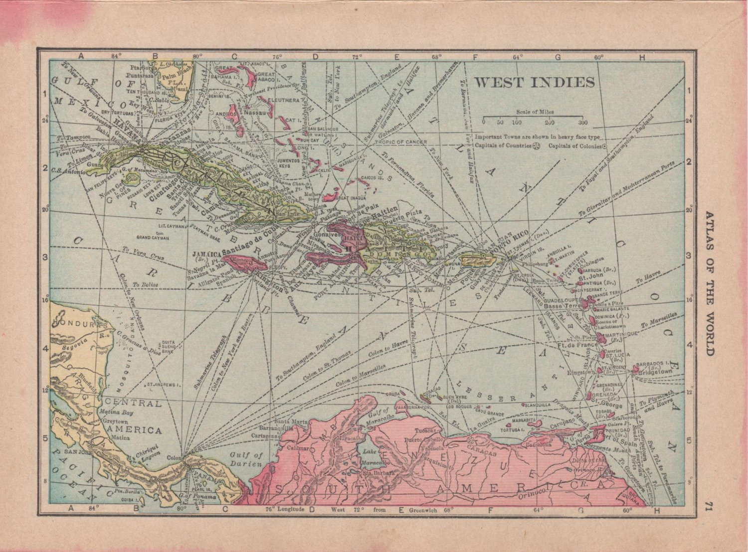 Map of Cuba and The West Indies, C.S. Hammond c.1910