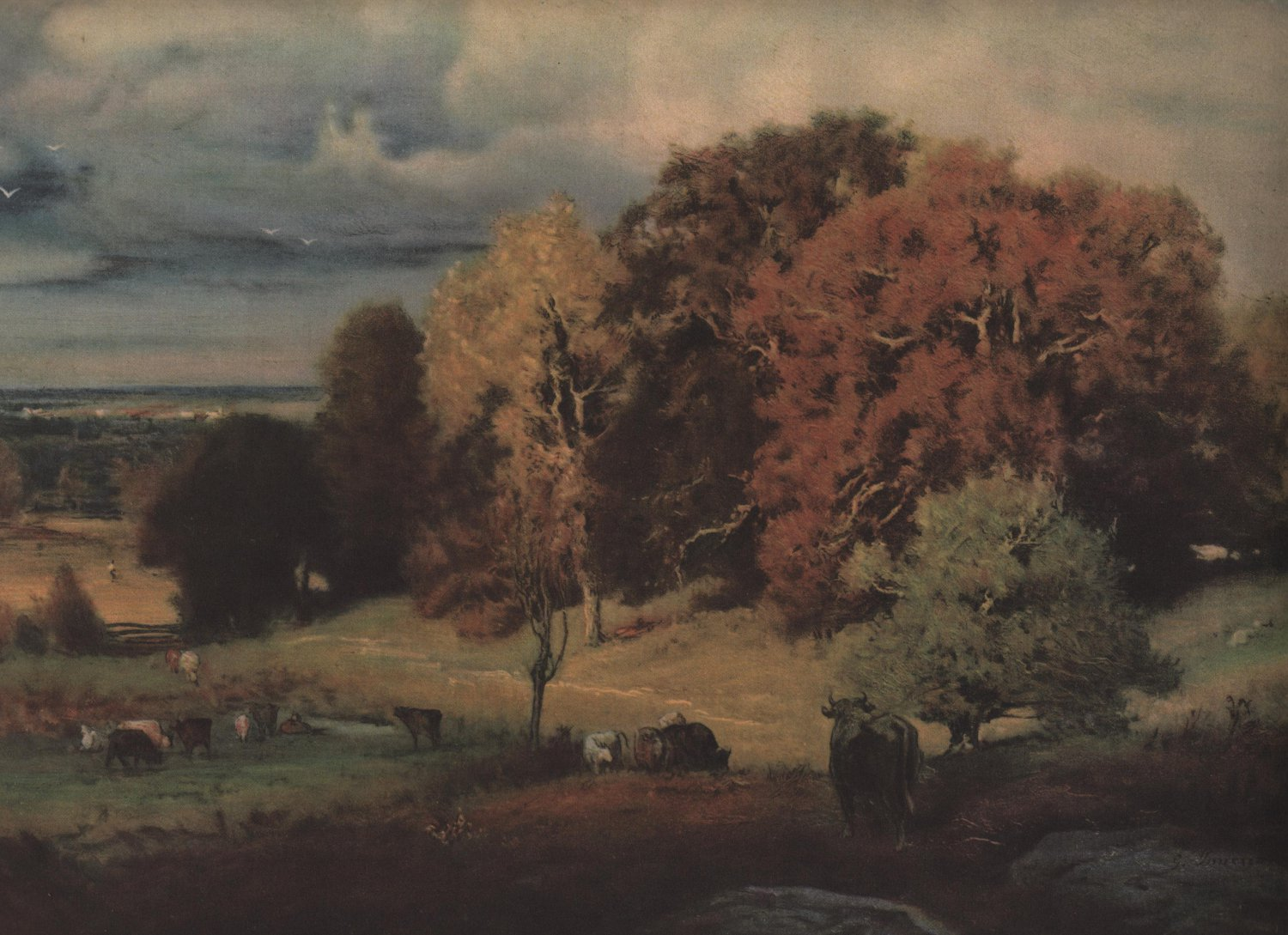Autumn Oaks George Inness Pictorial Review Print Full Color C1924