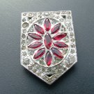 Rhinestone Dress Clip, Red Flower Crest Arrangement c.1930