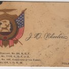 Calling Card, J.D. Wheeler, Member A.O.F. of A., Toledo Ohio c.1893