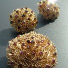 Snowball Brooch & Earring Set, Pink & Purple Rhinestones c.1957