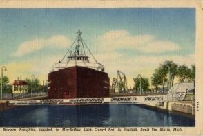 Sault Ste Marie Michigan Postcard, Freighter in MacArthur Lock c.1948