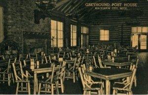Mackinaw City Michigan Postcard, Interior of Greyhound Post House c.1950
