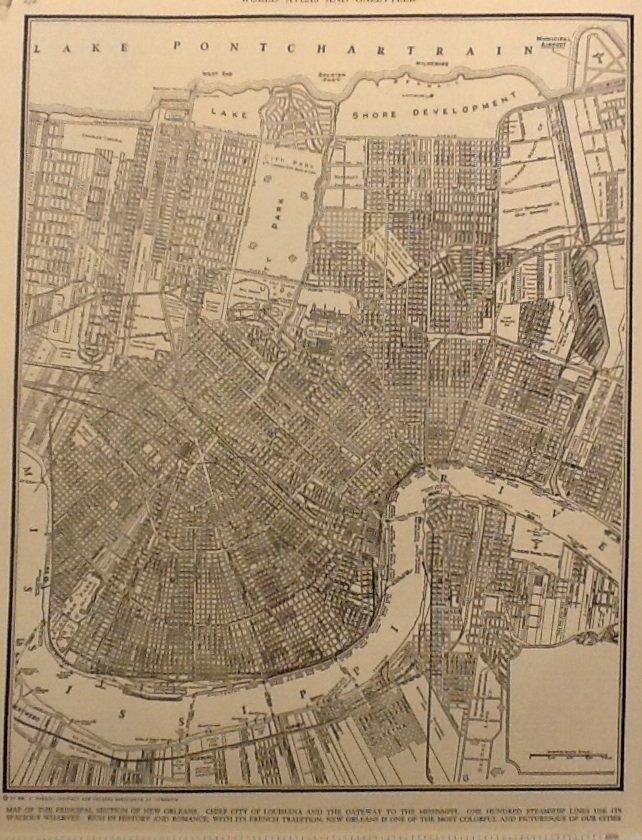 Map of New Orleans, W.M.E. Boesch, Collier's World Atlas, Black & White c.1949