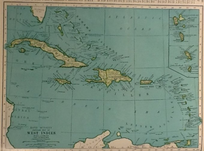 Map of Cuba and The West Indies, Rand McNally c.1949